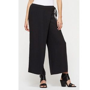 Eileen Fisher Wide Cropped Wrap Front Silk Pants